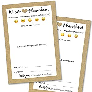 50 Suggestion Box Cards – Rustic Comment Cards for Restaurant, Bed & Breakfast and Hotel Supplies – Premium Customer Complaint and Feedback Forms for Both Small and Large Business