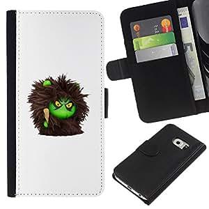 EJOY---La carpeta del tirón la caja de cuero de alta calidad de la PU Caso protector / Samsung Galaxy S6 EDGE / --Monstruo peludo Juguete lindo de la historieta
