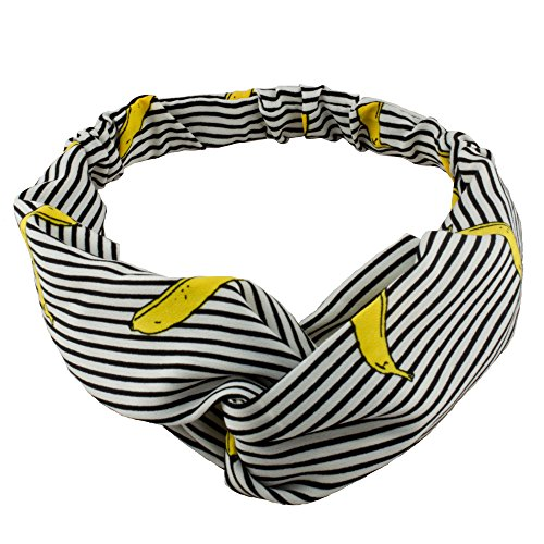 Xanthys & Co Banana Striped Headband Ever-Stylish Headwrap Charismatic Hair Band … (Black) (Striped Banana Satin)