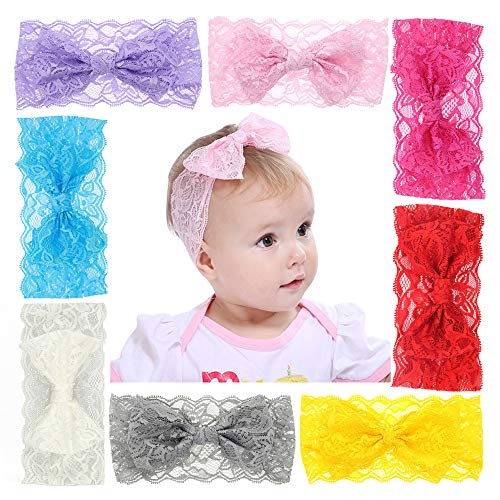 Zapire 8pcs Lace Bows Baby Headbands for Baby Girl Headbands Hair Accessories - Soft Elastic Flower Bows Hair Band (8pc Lace Bow)