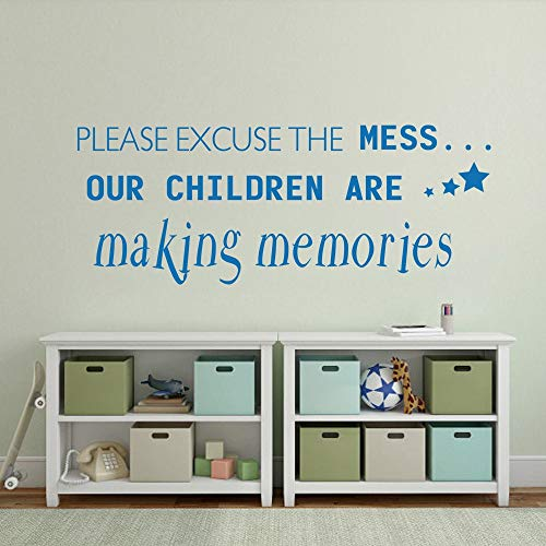 jhbelh Vinyl Wall Lettering Stickers Quotes and Saying Please Excuse The Mess Our Children are Making Memories for Living Room Or Bedroom