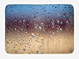 Ntpclsuits Rain Bath Mat, Close Up Rain Drops on Glass Natural Sprays Sphere Contrasting Colors Picture, Plush Bathroom Decor Mat Non Slip Backing, 23.6 W X 15.7 W Inches, Blue Tan Brown