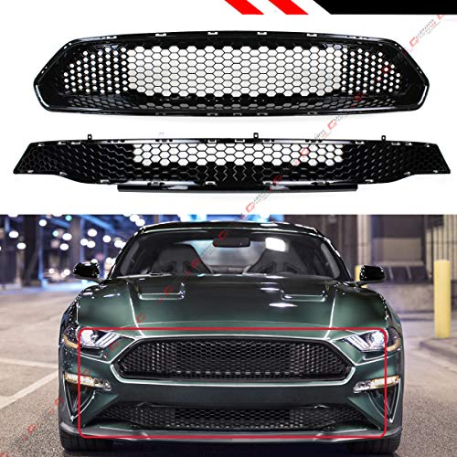 Mustang Honeycomb - Fits for 2018-19 Ford Mustang Bullitt Style High Flow Glossy Black Honeycomb Front Bumper Upper + Lower Grille Set
