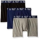 Original Penguin Men's 3 Pack Basic Knit Cotton Boxer, Black, Light Grey Heather, Medieval Blue, M