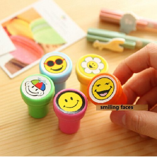 UDTEE 20PCS New Fashionable And Lovely/Cute/Adorable/Fun Cartoon Smiling Face Design Self-ink Stamps/Stapmers,Assorted Colors