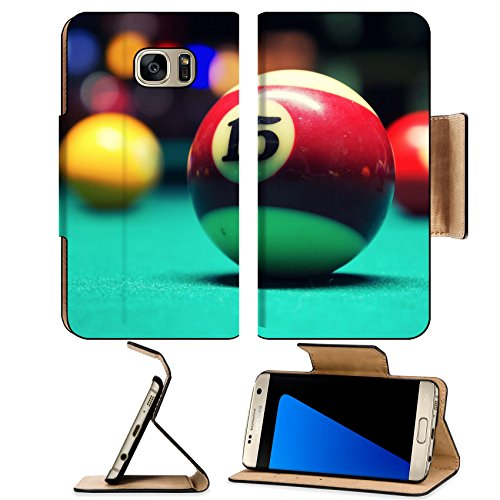 Luxlady Premium Samsung Galaxy S7 EDGE Flip Pu Leather Wallet Case IMAGE ID: 22134211 A Vintage style photo from a billiard balls in a pool table Noise added for a film effect