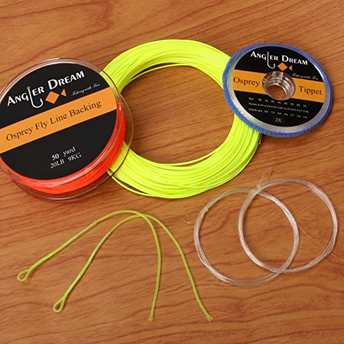 - ANGLER DREAM Yellow WF Fly Fishing Line Kit 1WT Fly Fishing Line Leader Braided Backing Fish Line