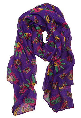 S-7300-40 New Orleans Mardi Gras Oblong Scarf - Purple