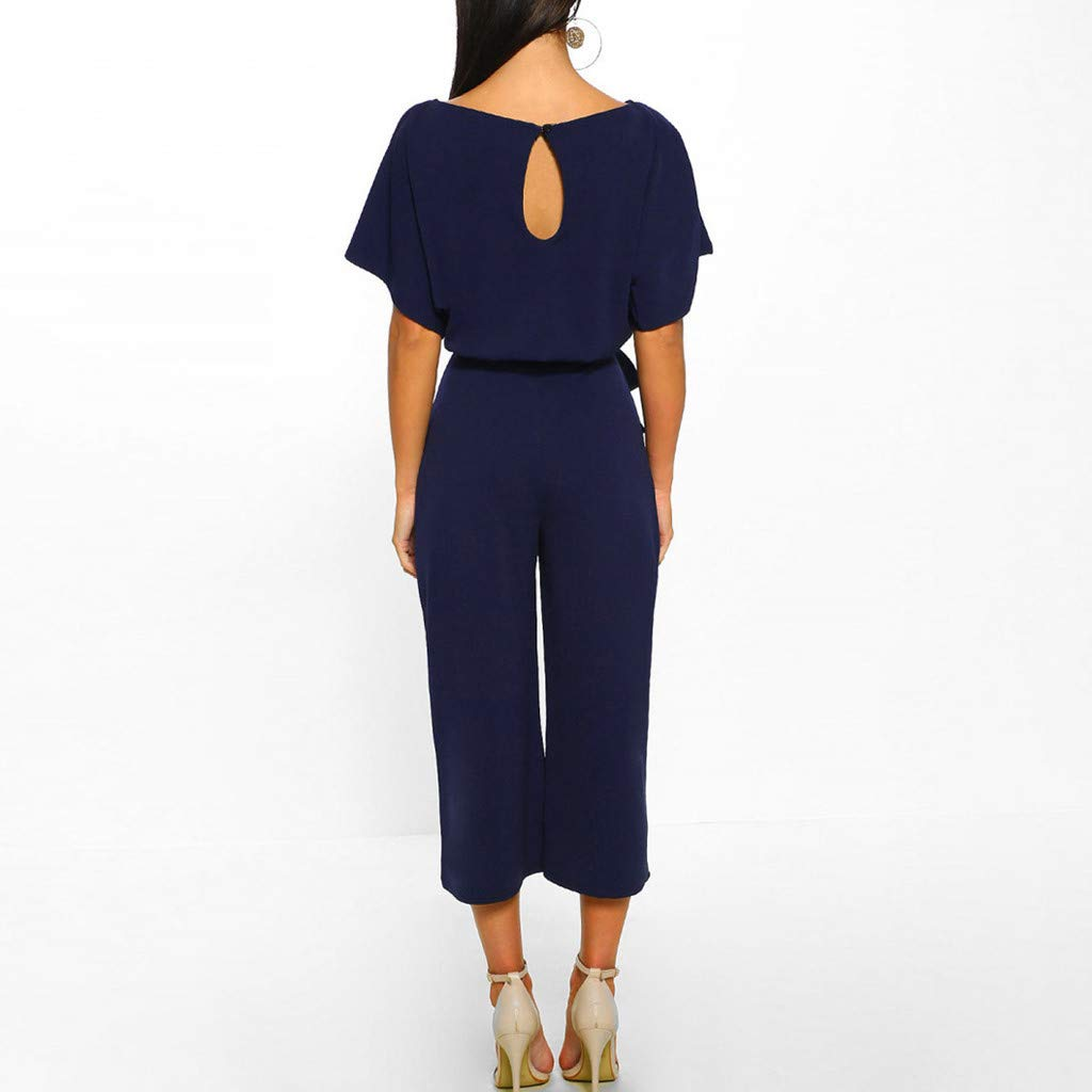 Sonojie Elegant Women Short Sleeve Playsuit Clubwear Straight Leg Jumpsuit with Belt for Buisness Office Dungarees Solid Long Overall