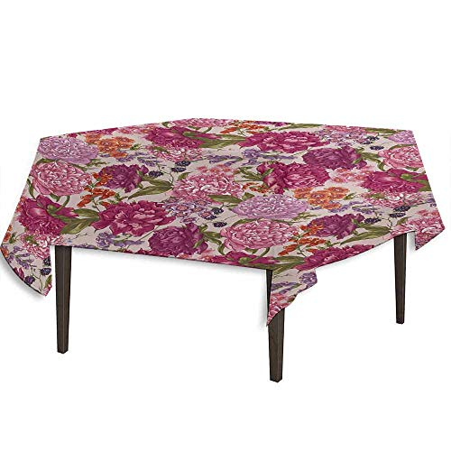 kangkaishi Shabby Chic Waterproof Anti-Wrinkle no Pollution Peonies BlackBerry and Wild Flowers in Vintage Style Colorful Nature Theme Table Cloth W36.2 x L36.4 Inch ()