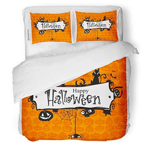 SanChic Duvet Cover Set Orange Border Halloween Red Pumpkin Pattern Lantern Vintage Decorative Bedding Set with 2 Pillow Cases Full/Queen Size]()