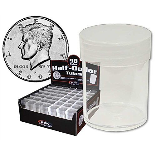 (20) BCW Brand Round Clear Plastic (Half Dollars) Size Coin Storage Tube Holders with Screw on Lid ()