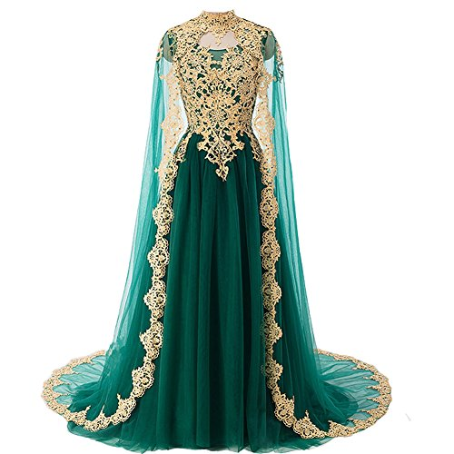 Gold Lace Vintage Long Prom Evening Dresses Wedding Gowns with Cape Emerald Green US 10