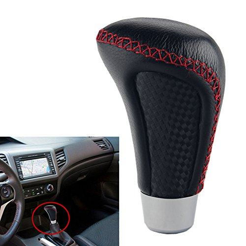Dewhel Universal Jdm Real Leather Manual or Automatic Gear Shift Knob Black W/Red Stitching For Honda Acura Mazda Mitsubishi Nissan Infiniti Lexus Toyota Scion Subaru etc (Shift Knob 6 Speed Mazda compare prices)