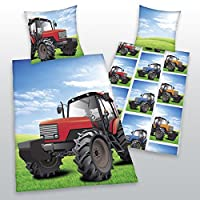 Tractor Single/US Twin Reversible Duvet Cover and Pillowcase Set