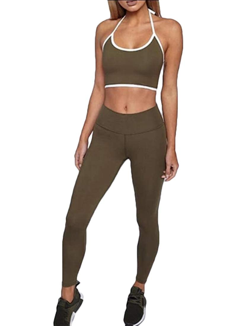 Women 2 Piece Outfit Crop Top Long Skinny Leggings Tracksuits Workout Yoga Set