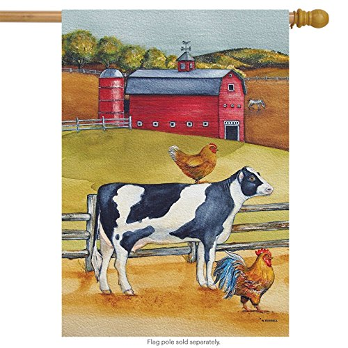 "Barnyard Buddies Summer House Flag Cow Chicken Farm 28"" x 40"