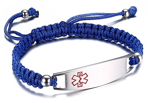 JF.JEWELRY Blue Nylon Braided Rope Medical Alert ID Bracelet for Boys and Girls,Free Engraving Gold Medical Id Jewelry