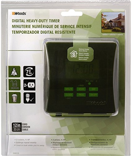 Coleman Cable 50015 6 Pack 7-Day Outdoor Digital Heavy Duty Timer by Woods (Image #2)