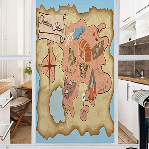 Treasures Mirrored Door Chest - Decorative Window Film,No Glue Frosted Privacy Film,Stained Glass Door Film,Ancient Treasure Map of Tropical Beach with Chest Key Mystical World Theme,for Home & Office,23.6In. by 59In Cream Pink Blue