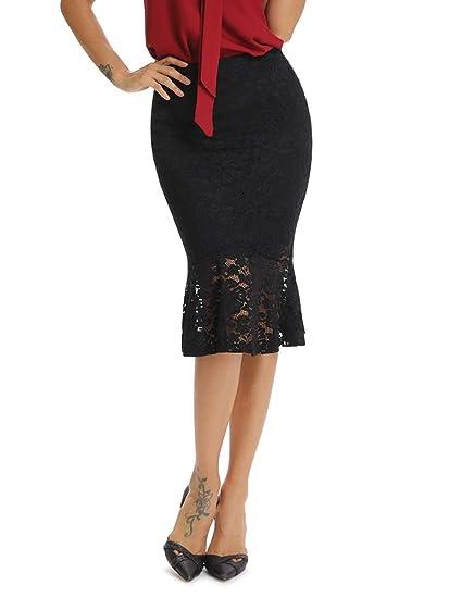 Phorecys - Falda de Encaje para Mujer, Cintura elástica: Amazon.es ...