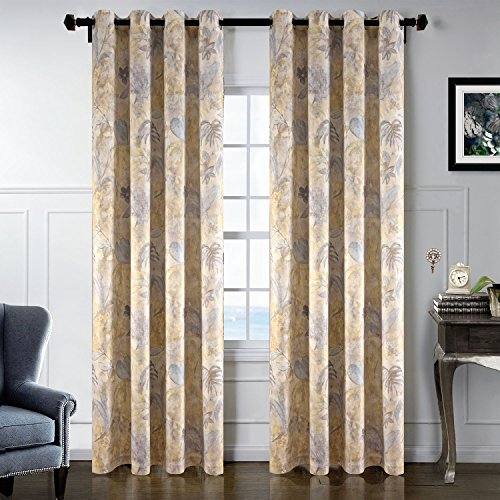 Super Soft Print Velvet Curtains Energy efficient Vintage Wall Paper Floral design Window drapes for Living Room Country Style for French door curtains Grommet Top 2 Panels 84 inch Long Grey Yellow - French Country 2 Door