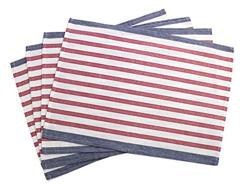 Fennco Styles American Flag Striped Cotton Table Linen, Napkins, Placemat (14