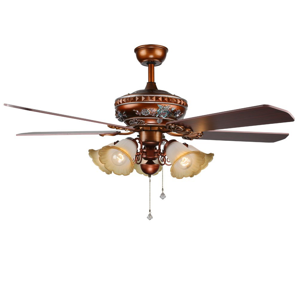 Akronfire Modern Ceiling Fan With 5 Glass Lamp Shades Decorate Living Room Bedroom Hotel Simple Security Wood Blade of 52 Inch