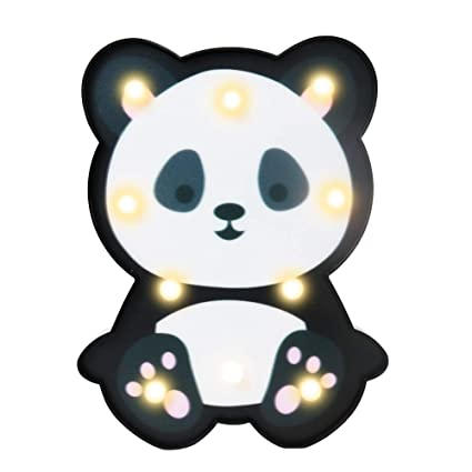 Vimlits Cute Panda Decorative Led Night Light Animal Marquee Table Lamps For Kids Children Bedroom Playrooms Baby Nursery Home Decor Indoor Mood