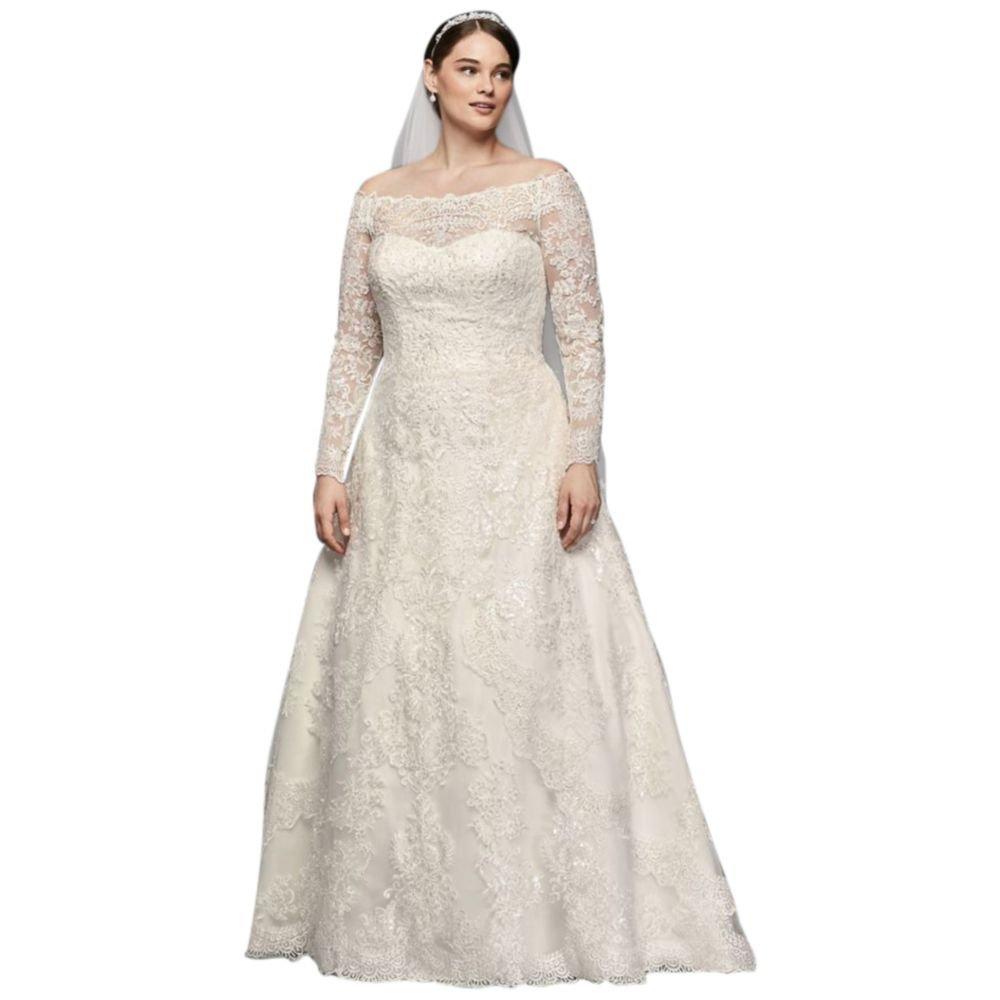 Davids Bridal Off The Shoulder Plus Size A Line Wedding Dress Style