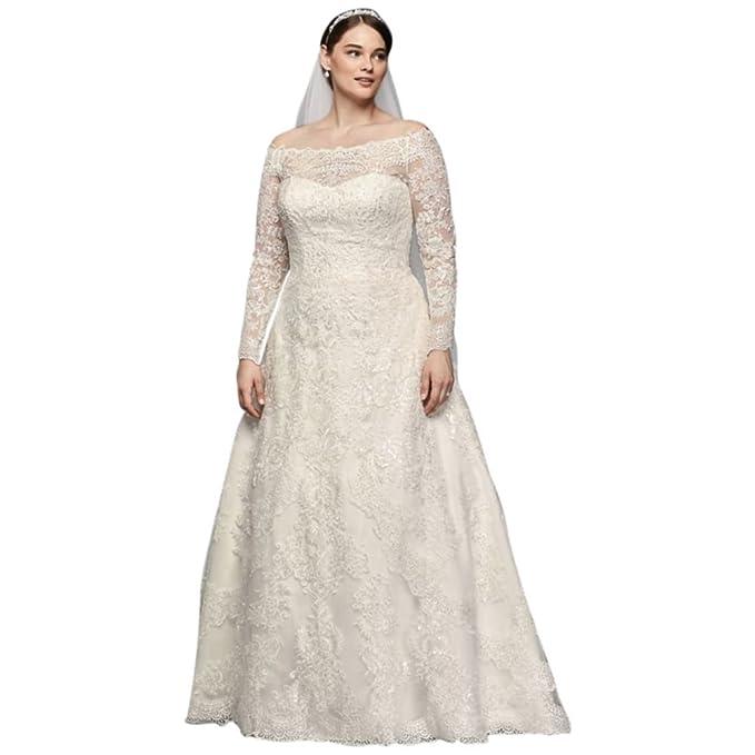 David\'s Bridal Off-The-Shoulder Plus Size A-Line Wedding ...