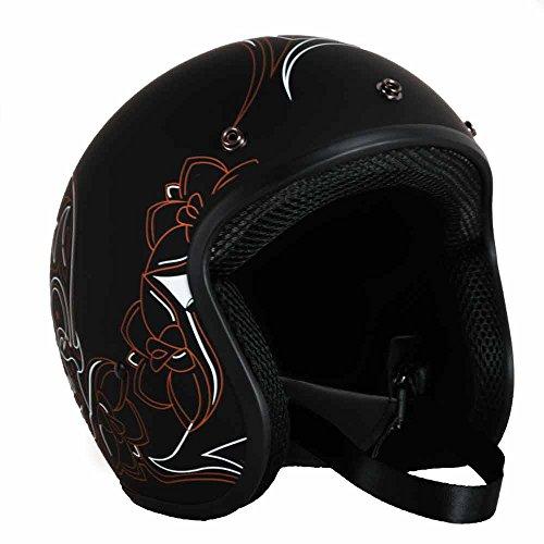 PGR B70 Retro PINSTRIPE Skull Black Motorcycle Open Face Bobber Chopper Rackus DOT Helmet Bell Biltwell … (Small, Matte Black Orange)