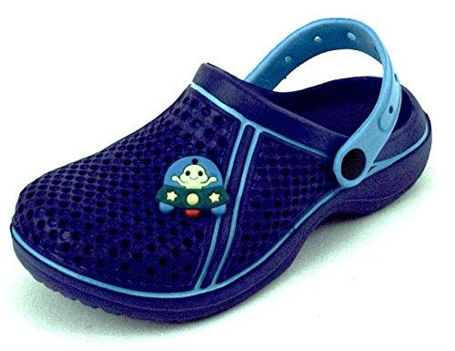 ACO Kinder Clogs Pantoletten Hausschuhe Badeschuhe Sandalen mit Sticker Gr. 28-33 Dunkelblau