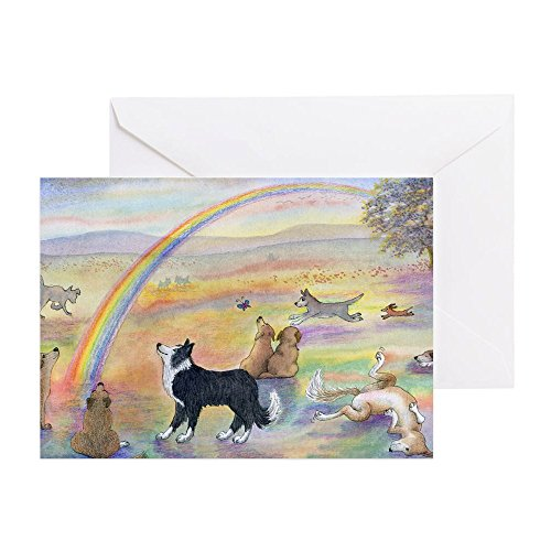 CafePress - Dogs Waiting At Rainbow Bridg Greeting Cards (Pk O - Greeting Card (20-pack), Note Card with Blank Inside, Birthday Card Glossy ()