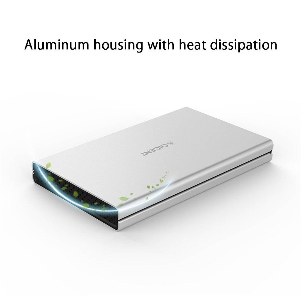 Carcasa de Aluminio para Disco Duro Externo de 2.5 Pulgadas ,SATA HDD/SSD(con un Cable USB 3.0) Aspecto Aluminio Cepillado ,Color Plata