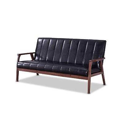 Baxton Furniture Studios Nikko Mid century Modern Scandinavian Style Black Faux Leather Wooden 3 Seater Sofa, Black