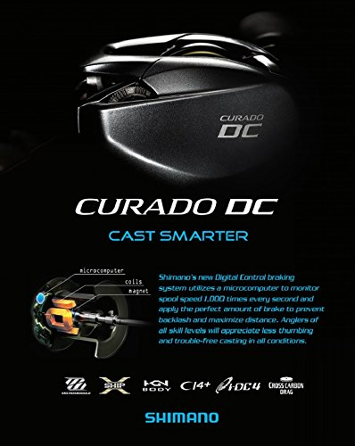 SHIMANO CURADO DC 151, Left-Handed, High Gear, LowProfile Baitcasting Freshwater Fishing Reel