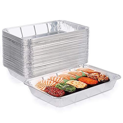 XIAFEI Aluminum Foil Pans, Disposable Steam Table Deep Pans Great for BBQ, Catering, Baking, Cooking, Heating, Storing, Prepping Food (Outer Size: 12.99