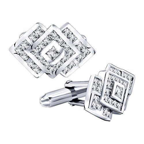 Cubic Zirconia Cufflinks (Men's Sterling Silver .925 Cufflinks with Cubic Zirconia CZ Stones, 22 mm by 14 mm. By Sterling Manufacturers)
