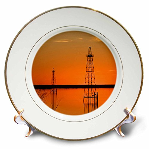 3dRose cp_94465_1 Oil Well Derricks, Industry, Lake Arrowhead, Texas-Us44 Ldi0004-Larry Ditto-Porcelain Plate, 8-Inch