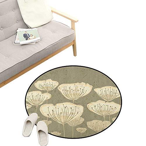 Floral Non-Slip Round Rug ,Pastel Beige Toned Flower Blooms Floret Buds Essence Nature Themed Artsy Illustration, Washable Living Room Bedroom Kids 23