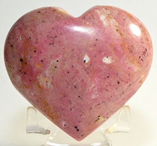 77mm Rhodochrosite Puffy Heart Rich Pink Natural Polished Crystal Decor Mineral Love Stone Heart - Peru + Acrylic Display Stand by HQRP-Crystal