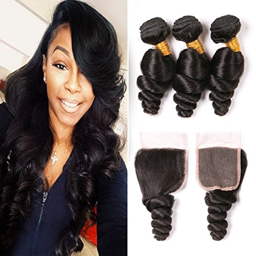 Daiweier Wet And Wavy Virgin Brazilian Hair With Closure 3 Bundles Silky Unprocessed Human Hair Weaves Closures Weft Extensions Piece For Black Woman 16 18 20 + 14 Inch