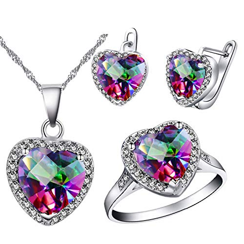 Uloveido Large Love Heart Cubic Zirconia Vintage Charming Wedding Bridal Jewelry Sets for Girls, Women Rings Necklace and Earrings Set ()
