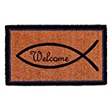 Home & More 122122436 Christian Welcome Doormat, Natural/Black/Blue