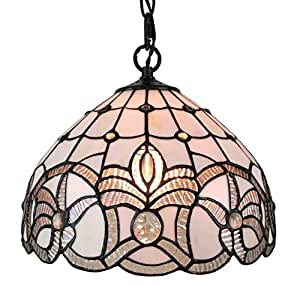 Amora Lighting Tiffany Style AM282HL12 White Ceiling Fixture Inches Wide Lighting, 12""