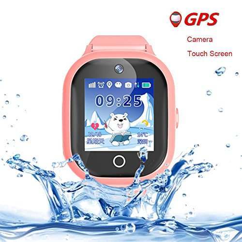 Kids Smart Watch Girls Boys Waterproof,GPS Tracker SIM Solt Pedometer SOS Camera Smart Watches for Children Compatible for iOS Android (Pink)