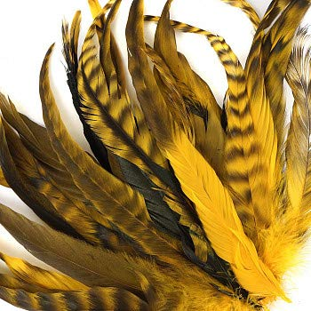 Yellow ZUCKER 25pc Rooster Chinchilla Tail Feathers 8-10 inch Colorful Rustic Craft Supply for DIY Home Decor Gold