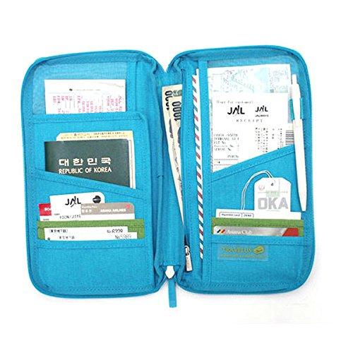 WINOMO Pratico Travel Passport titolare carta titolare portafoglio con zip borsa Organizer (blu)