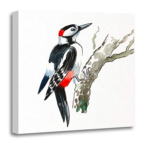 (Emvency Canvas Prints Square 12x12 Inches Colorful Animal Watercolor Woodpecker On Tree Beautiful Beauty Bird Color Cute Hand Decoration Wooden Frame Pictures Framed Wall Decor)